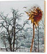 Winters Field Wood Print