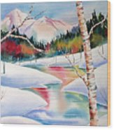 Winter's Light Wood Print by Deborah Ronglien