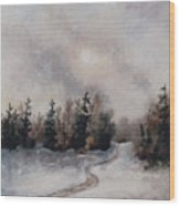 Winters Sunset Wood Print