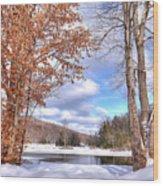 Winters Window Wood Print