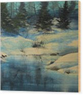 Winterscape Wood Print by Robert Carver