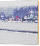 Wintertime At The Fairmount Dam And Boathouse Row Wood Print