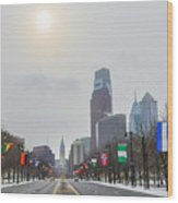 Wintertime - Benjamin Franklin Parkway Wood Print
