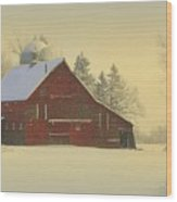 Wintery Barn Wood Print by Julie Lueders