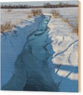 Wintery Creek Wood Print