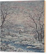 Wintery December Wood Print