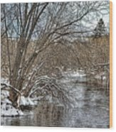 Wintery River Wood Print