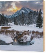 Wintery Wasatch Sunset Wood Print