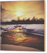 Wintry Sunset Reflections Wood Print