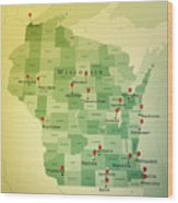 Wisconsin Map Square Cities Straight Pin Vintage Wood Print