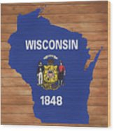 Wisconsin Rustic Map On Wood Wood Print