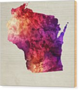 Wisconsin State Map 05 Wood Print
