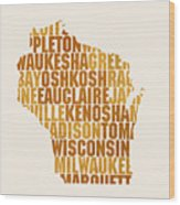 Wisconsin State Outline Word Map Wood Print
