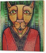 Wise Cat Wood Print