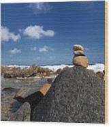 Wishing Rocks Aruba Wood Print by Amy Cicconi
