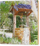 Wishing Well Cambria Pines Lodge Wood Print by Arline Wagner