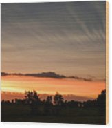 Wispy Clouds At Sunset Wood Print