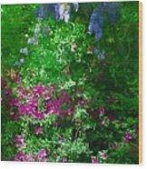 Wisteria And Azaleas Wood Print