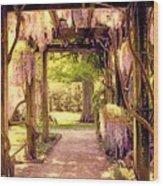 Wisteria In Watercolor Wood Print