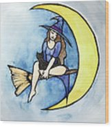 Witch And Moon Wood Print