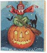 Witch In A Big Pumpkin Wood Print