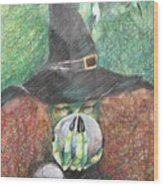 Witch In Action Wood Print by Brigitte Hintner
