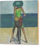 With Bike On The Beach Wood Print