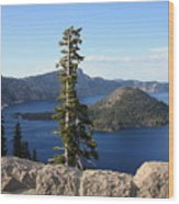 Wizard Island With Rock Fence At Crater Lake Wood Print