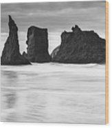 Wizard's Hat Sea Stack - Black And White Wood Print