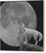Wolf And Moon Wood Print