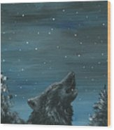Wolf And The Stars Wood Print