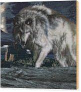 Wolf At Night Wood Print