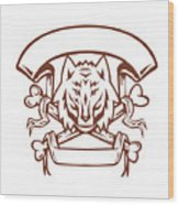 Wolf Cross Bones Banner Retro Wood Print