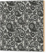Wolf Gray Paisley Design Wood Print