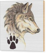 Wolf Head Profile Wood Print