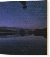 Wolf Lake At Night 1 Wood Print