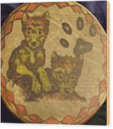 Wolf Pup Drum Wood Print