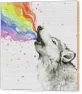 Wolf Rainbow Watercolor Wood Print