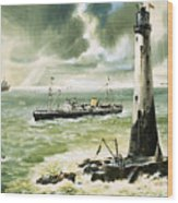 Wolf Rock Lighthouse At Land's End Wood Print
