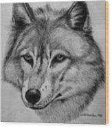 Wolf Sketch Wood Print