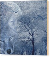 Wolf Wood Print by Svetlana Sewell