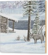 Wolfs In Winter Wood Print