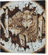 Wolves In Hiding Wood Print