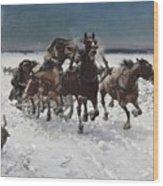 Wolves In Pursuit By Alfred Wierusz-kowalski 1849-1915 Wood Print