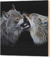 Wolves Portrait Wood Print by Julie L Hoddinott