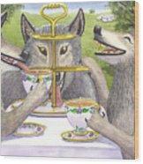 Wolves Tea Party Wood Print
