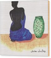 Woman And A Ginger Jar Wood Print