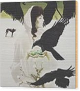 Woman And Birds Wood Print