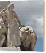 Woman And Bull, Marquis De Pombal Monument Wood Print