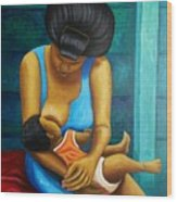 Woman And Child Wood Print